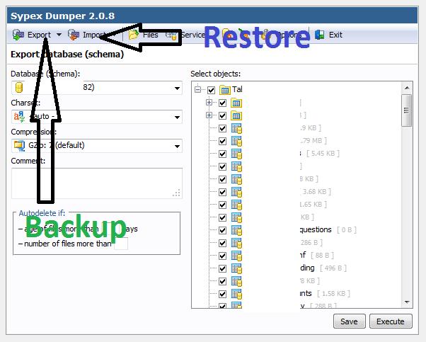 Sypex - Backup và Restore Database
